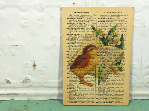 Baby Chick Easter Print on Page from Small Vintage Dictionary,  Mounted on Hardboard & Ready to Hang
