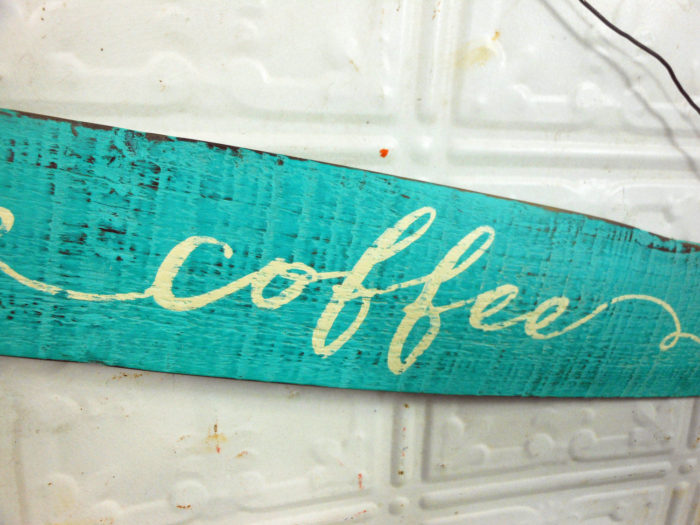 Coffee Sign on Painted Wooden Nail Barrel Stave
