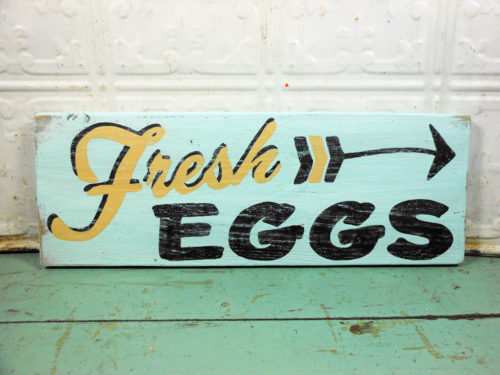 Fresh Eggs and Arrow Sign on Reclaimed Barnwood Aqua Black and Tan Wooden Sign