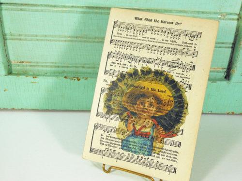Harvest Turkey Print on Page from Vintage Hymnal Mounted on Hardboard