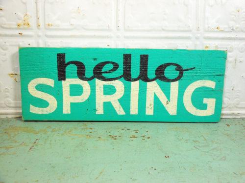 Hello Spring on Reclaimed Barnwood Green Spring Sign