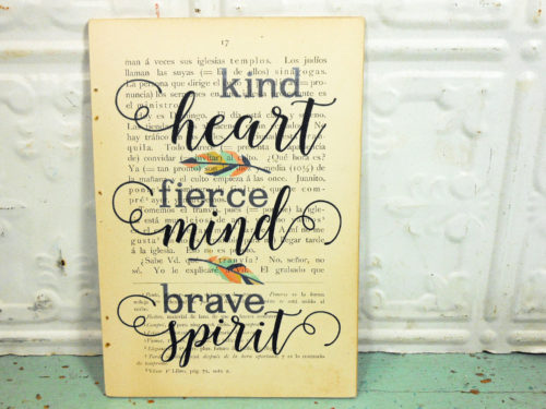 Kind Heart Print on Page from Vintage Spanish Dictionary,  Mounted on Hardboard & Ready to Hang