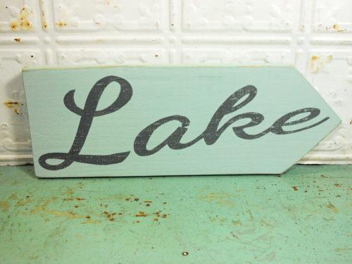 Lake Sign on Reclaimed Barnwood Arrow