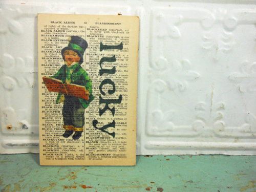 Lucky Print on Page from Small Vintage Dictionary,  Mounted on Hardboard & Ready to Hang