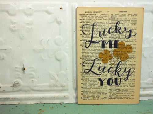 Lucky You Gold Shamrock Print on Page from Small Vintage Dictionary,  Mounted on Hardboard & Ready to Hang