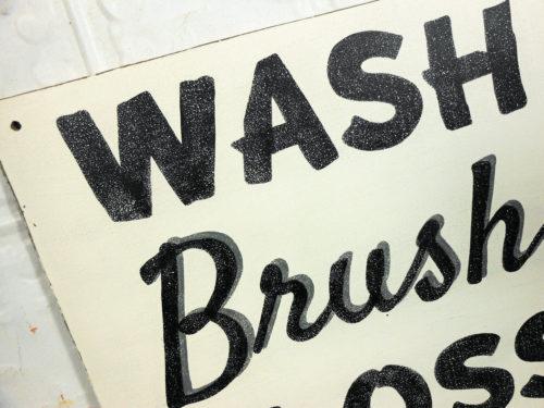 Painted Bathroom Sign Wash Brush Floss Flush