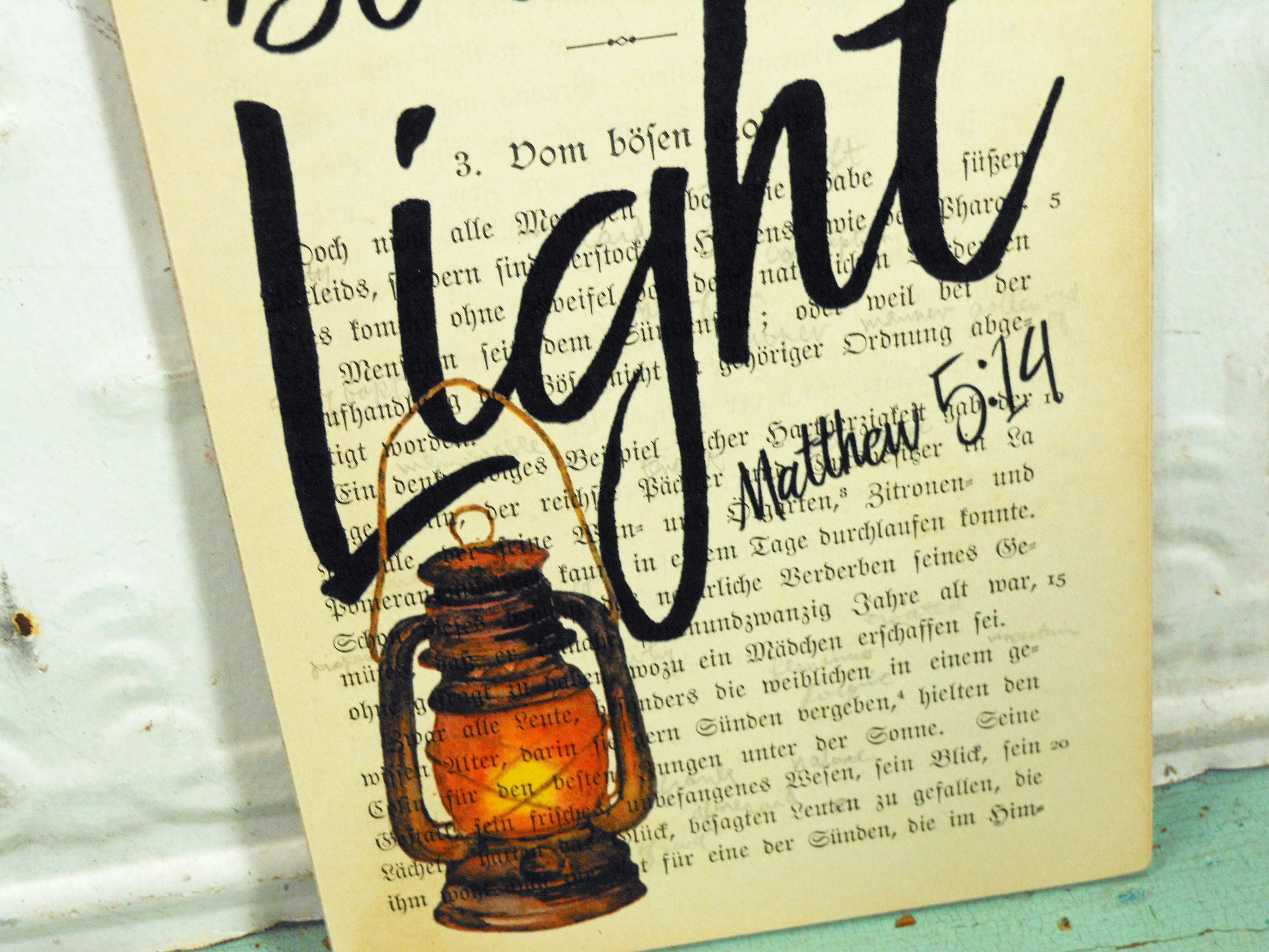 Be the Light, Matthew 5:14 Print on Page from Vintage German Book