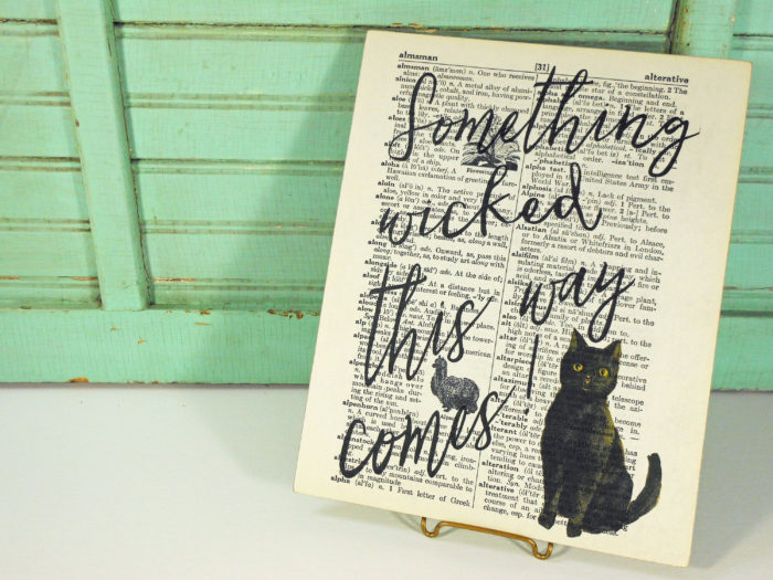 Black Cat Something Wicked Print on Page from Vintage Large Print Dictionary Mounted on Hardboard