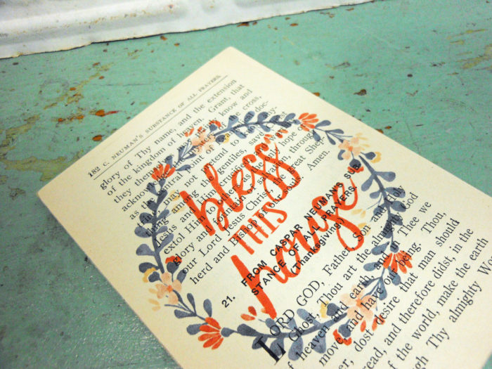 Bless This House Floral Wreath Printed on Vintage Prayer Book Page,  Mounted & Ready to Hang