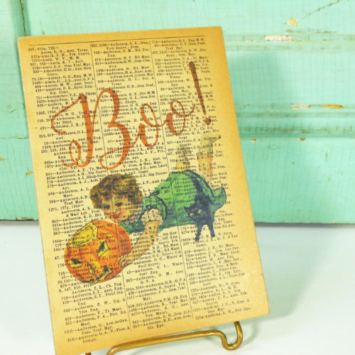 Boo! Halloween Child and Jack O' Lantern Print on Page from Vintage Railroad Book