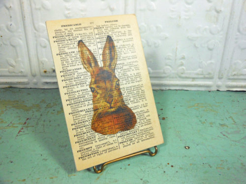 Brown Bunny Rabbit Print on Page from Small Vintage Dictionary,  Mounted on Hardboard & Ready to Hang