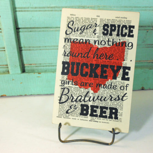 Buckeye Girls Print on Page from Vintage Encyclopedia Digest Mounted on Hardboard Ohio Girls Bratwurst and Beer