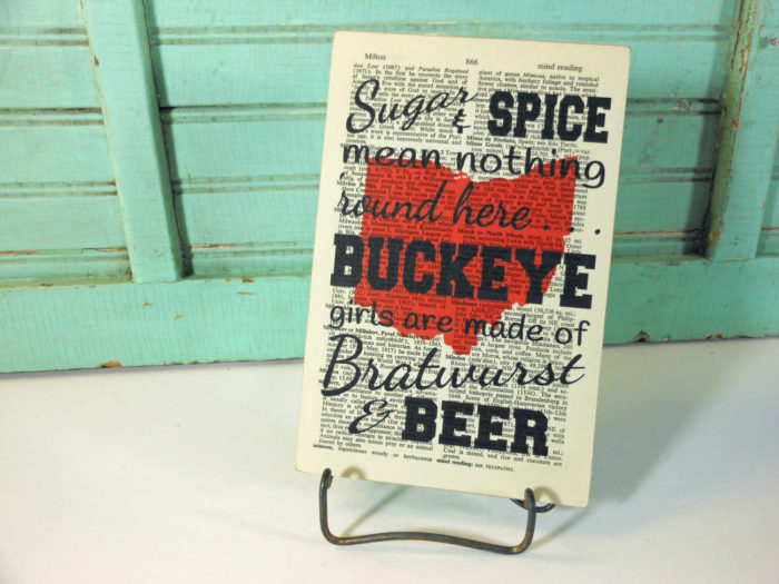 Buckeye Girls Print on Page from Vintage Encyclopedia Digest Mounted on Hardboard Ohio Girls Bratwurst and Beer
