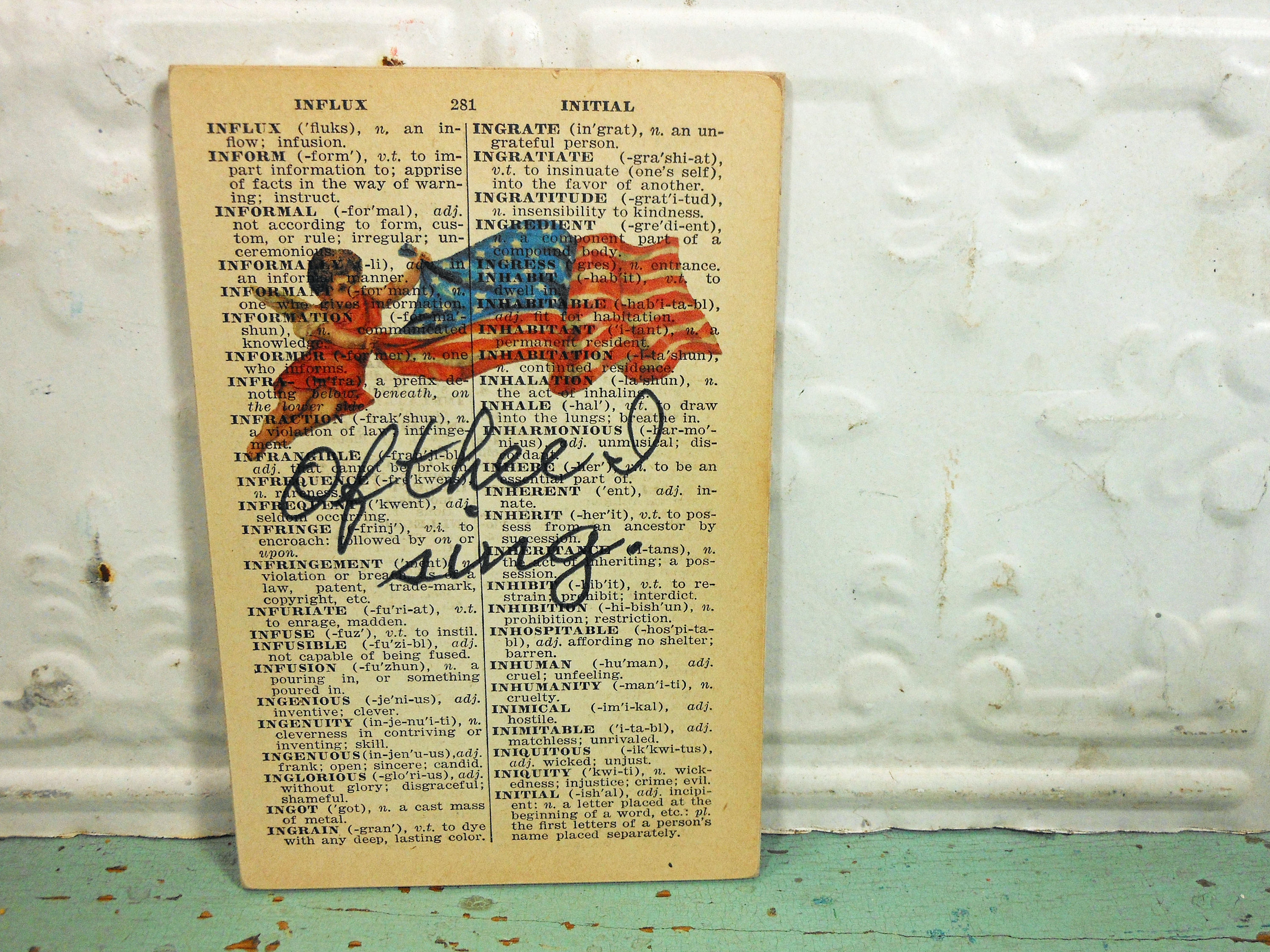"Flag Print ""Of Thee I Sing"" on Page from Small Vintage Dictionary,  Mounted on Hardboard & Ready to Hang"