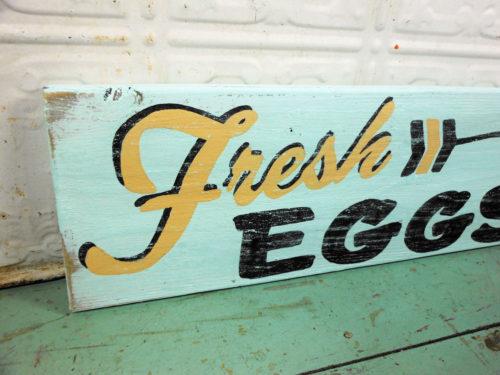 Fresh Eggs and Arrow Sign on Reclaimed Barnwood Aqua Black and Tan Wooden Sign
