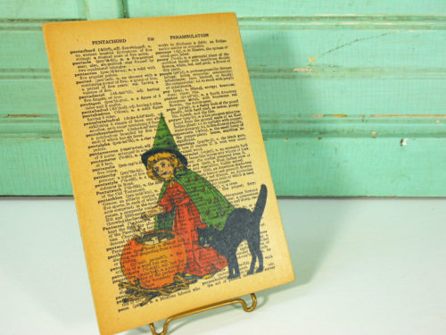 Halloween Child Witch and Black Cat Print on Page from Vintage Dictionary