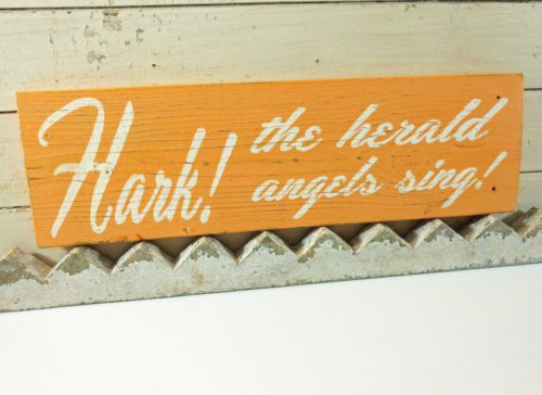 Hark The Herald Angels Sing on Reclaimed Barnwood Melon Orange Christmas Sign