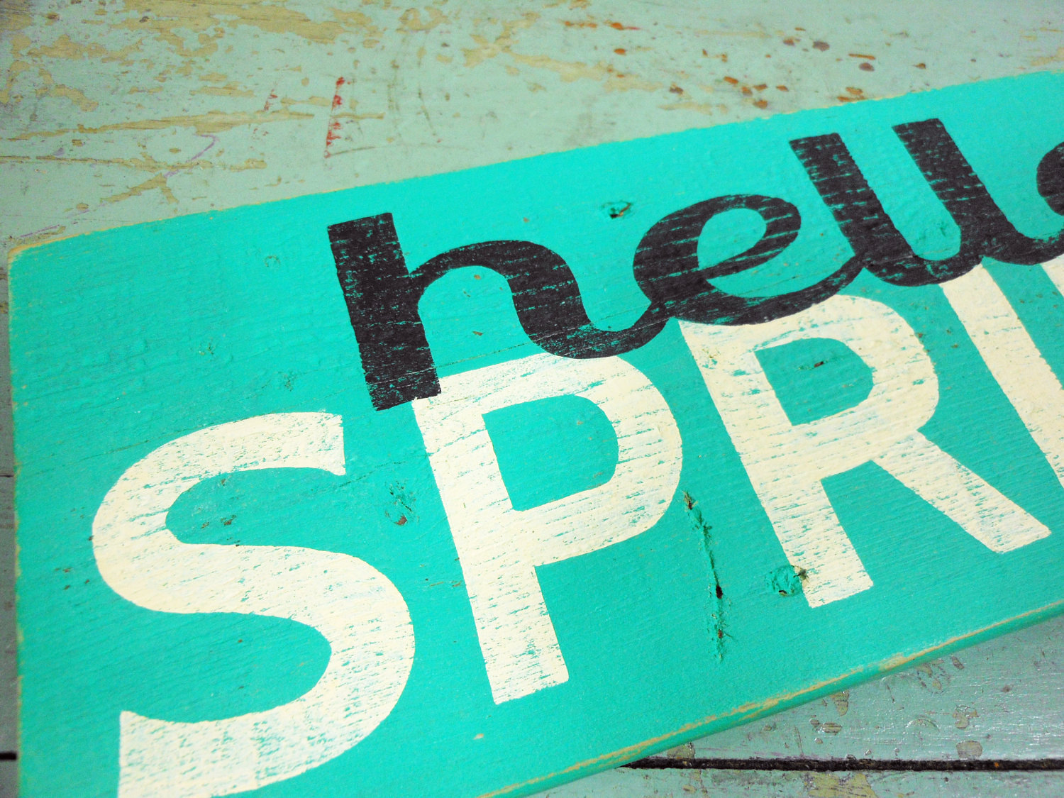 Hello Spring on Reclaimed Barnwood Green Spring Sign