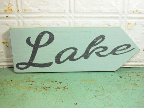 Lake Sign on Reclaimed Barnwood Arrow