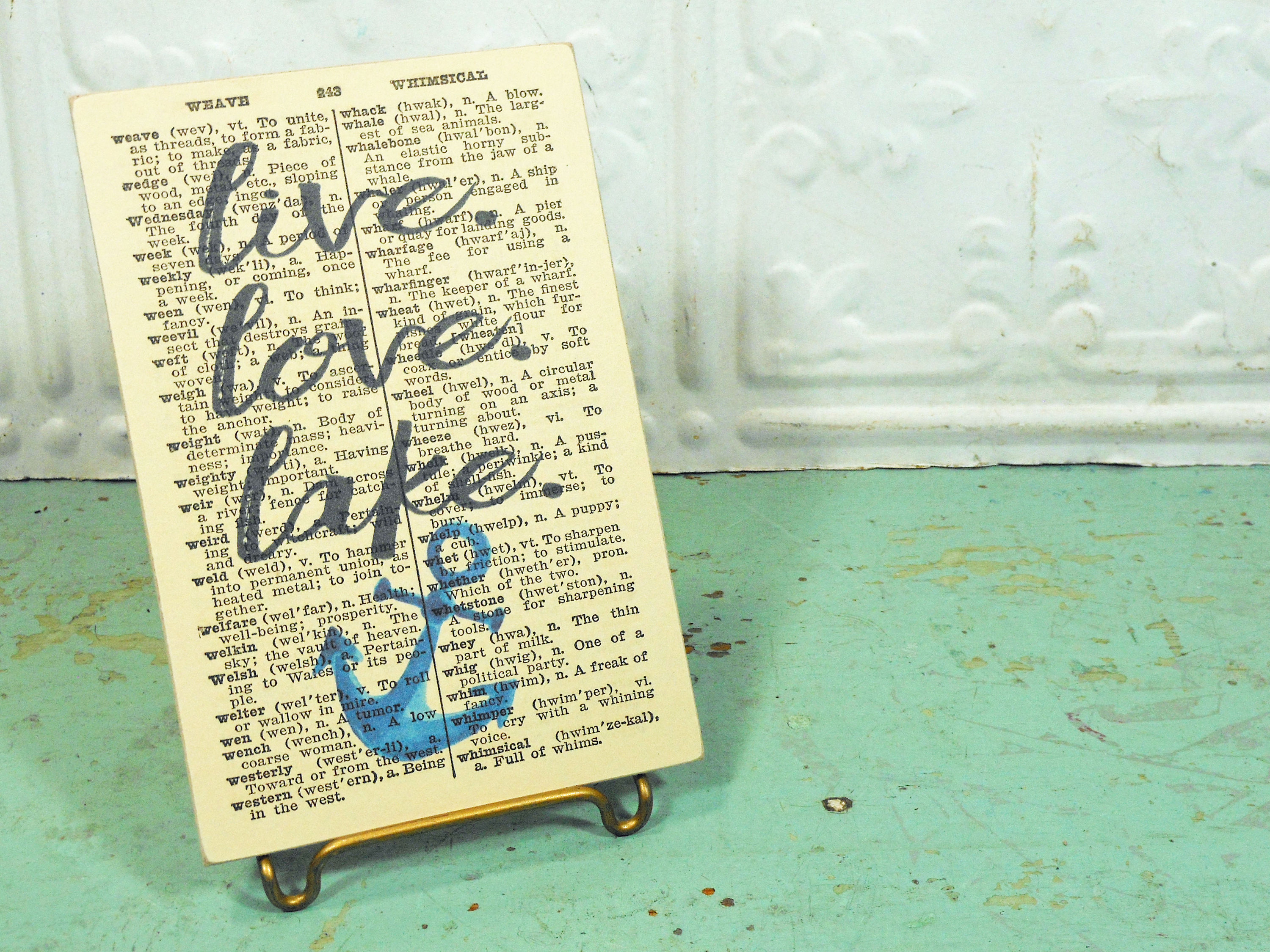 Live Love Lake Print on Page from Small Vintage Dictionary,  Mounted on Hardboard & Ready to Hang