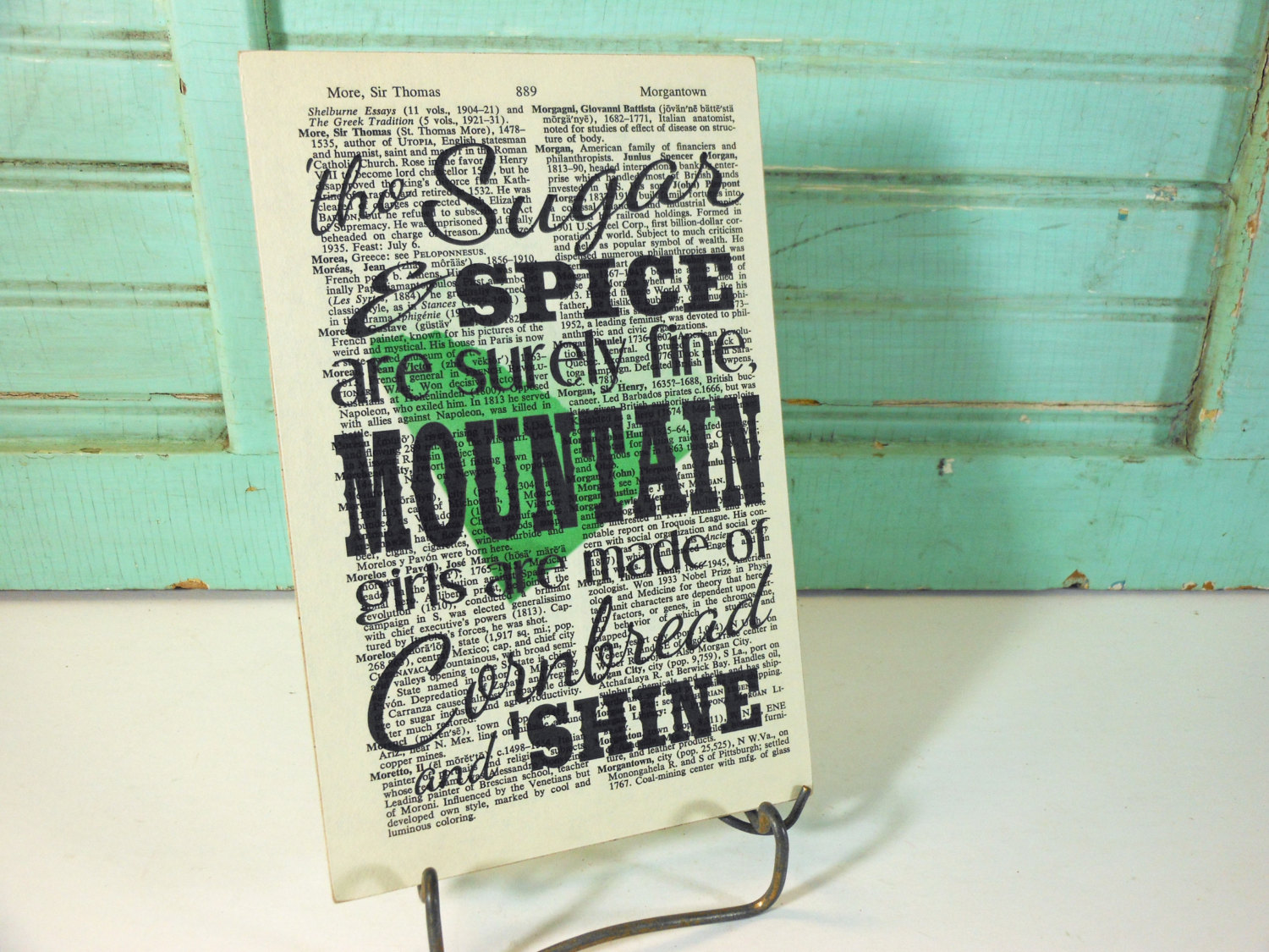 Mountain Girls Print on Page from Vintage Encyclopedia Digest Mounted on Hardboard Cornbread and Moonshine