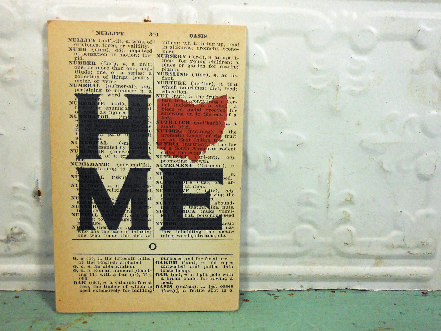 Ohio Home Print on Page from Small Vintage Dictionary,  Mounted on Hardboard & Ready to Hang