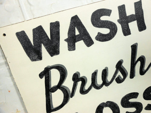 Painted Bathroom Sign Wash Brush Floss Flush