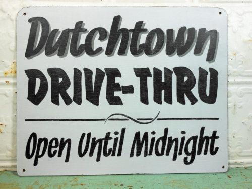 Painted Wooden Drive Through Sign Open Until Midnight
