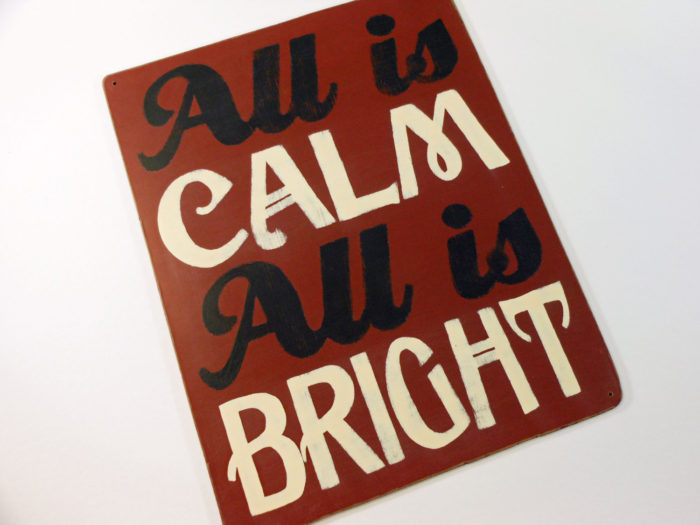 Painted Wooden Holiday Carol Sign Red and White All is Calm