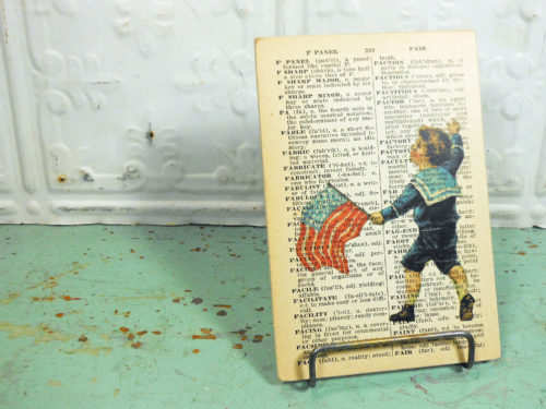 Patriotic Flag Print on Page from Small Vintage Dictionary,  Mounted on Hardboard & Ready to Hang