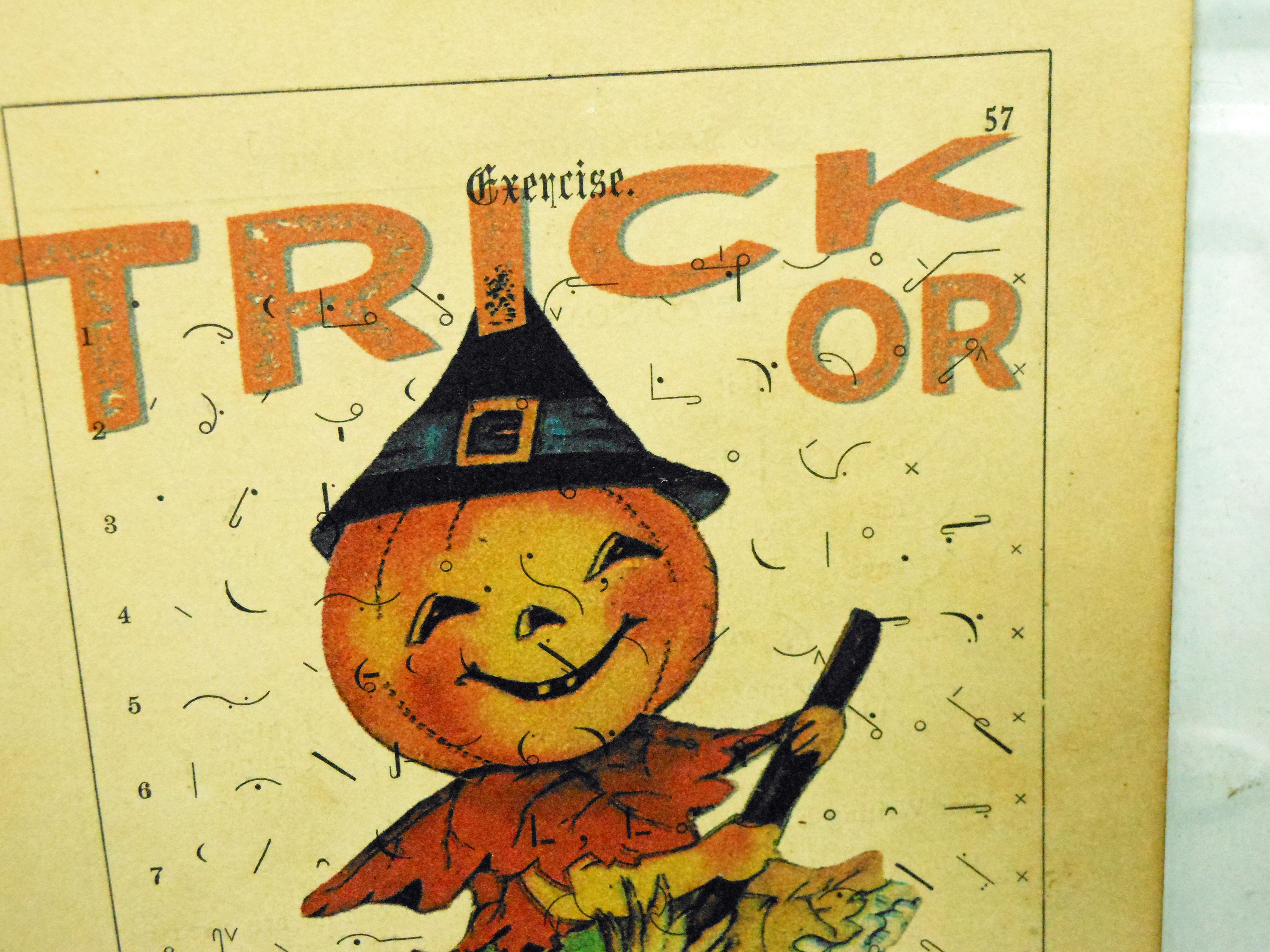 Trick or Treat Pumpkin Print on Page from Vintage Shorthand Textbook Mounted on Hardboard
