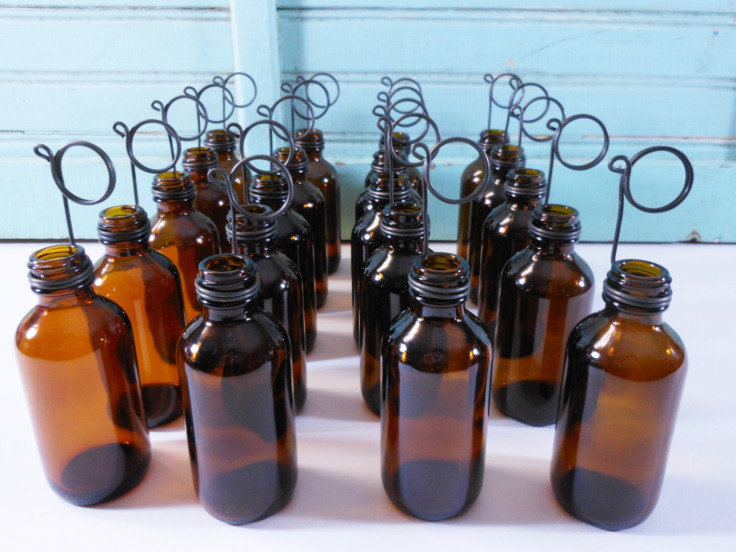 Twenty Amber Brown Bottle Bud Vases and Photo Holders Place Card Holders