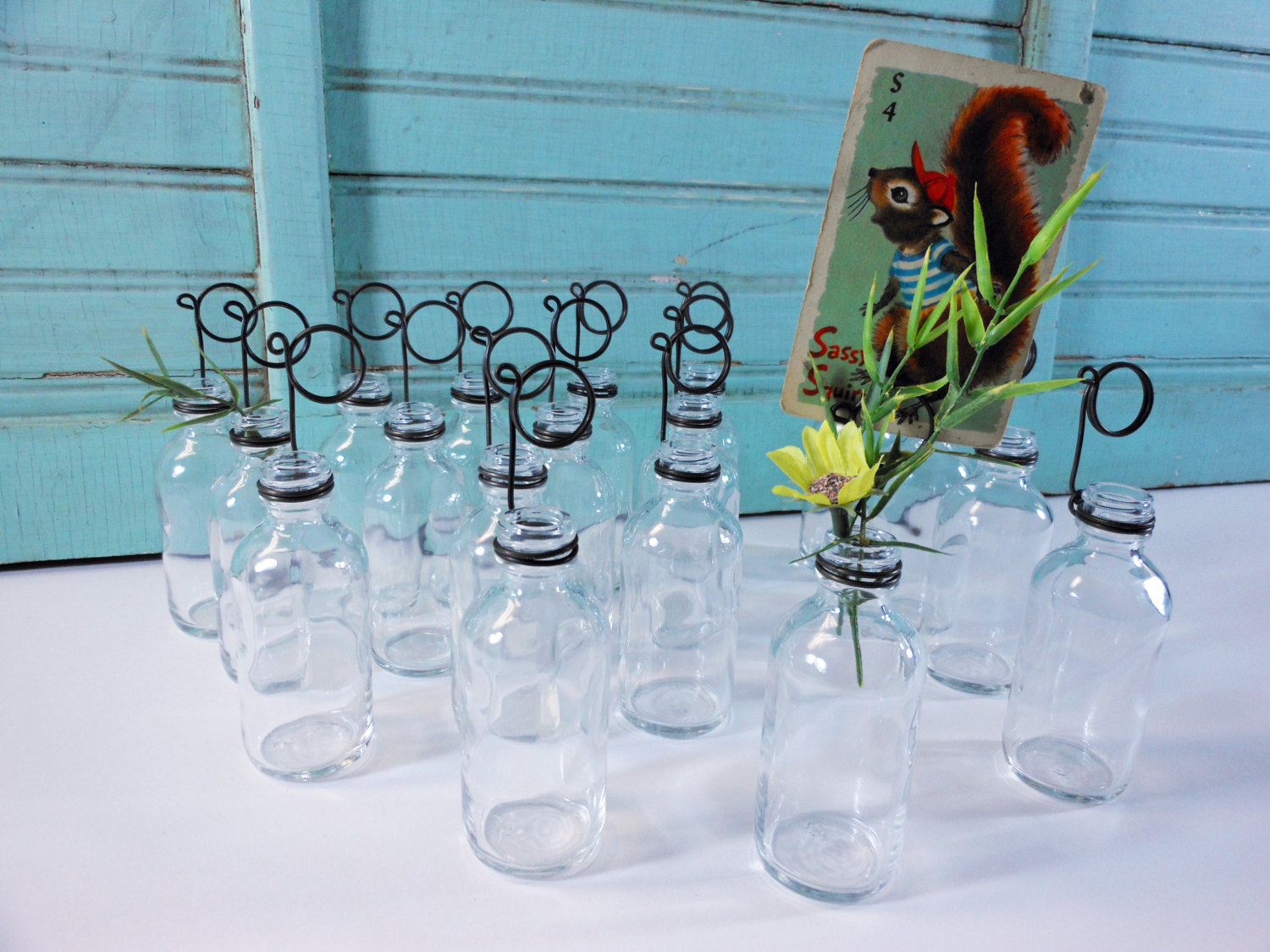 Twenty Clear Soda Glass Bottle Bud Vases and Photo Holders Place Card Holders
