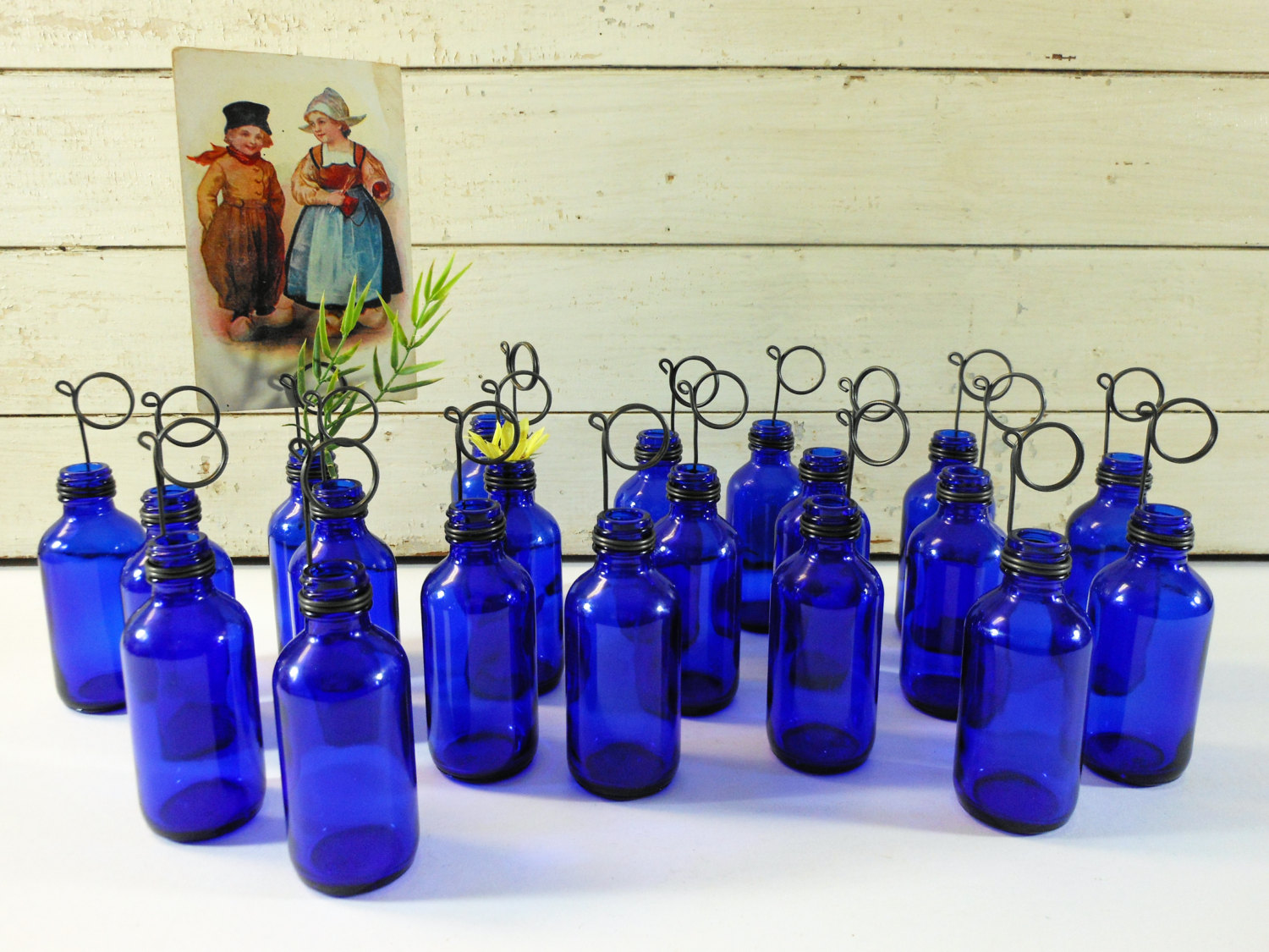 Twenty Cobalt Blue Bottle Bud Vases and Photo Holders Place Card Holders
